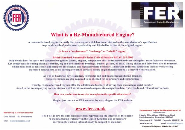 What is a Re-Manufactured Engine?
