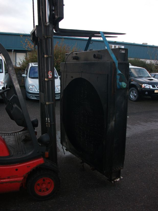 Large radiator on forklift